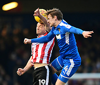 Lincoln City's Lee Frecklington vies for possession with Notts County's Elliott Hewitt<br /> <br /> Photographer Chris Vaughan/CameraSport<br /> <br /> The EFL Sky Bet League Two - Lincoln City v Notts County - Saturday 13th January 2018 - Sincil Bank - Lincoln<br /> <br /> World Copyright &copy; 2018 CameraSport. All rights reserved. 43 Linden Ave. Countesthorpe. Leicester. England. LE8 5PG - Tel: +44 (0) 116 277 4147 - admin@camerasport.com - www.camerasport.com