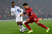 LIVERPOOL, GREAT BRITAN - NOVEMBER 5 : Alex Oxlade Chamberlain midfielder of Liverpool battles for the ball with Carlos Cuesta defender of Genk during the UEFA Champions League match between Liverpool FC and KRC Genk on November 05, 2019 in Liverpool, Great Britan, 5/11/2019 <br /> Liverpool 5-11-2019 Anfield <br /> Liverpool - Genk <br /> Champions League 2019/2020<br /> Foto Photonews / Panoramic / Insidefoto <br /> Italy Only