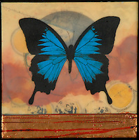 Mixed media encaustic painting with metal leaf and antique map of butterfly and moon phases