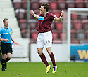 HEARTS' RUDI SKACEL CELEBRATES AFTER HE SCORES HEARTS' SECOND