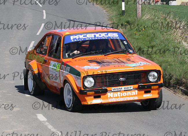 Philip Greenlee - Billy Regan in a Ford Escort Mk 2 near Junction 4 on Special Stage 1 Loughries Village of the Discover Northern Ireland Circuit of Ireland Rally which was a constituent round of  the FIA European Rally Championship, the FIA Junior European Rally Championship, the Clonakilty Irish Tarmac Rally Championship, and the MSA ANICC Northern Ireland Stage Rally Championships which took place on 18.4.14 and 19.4.14 and was based in Belfast.