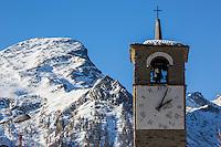 Italie, Val d'Aoste, Parco Nazionale del Gran Paradiso (Parc National du Grand Paradis), Cogne: Hameau de Gimillan , le clocher //Italy, Aosta Valley, Parco Nazionale del Gran Paradiso (Gran Paradiso National Park), Cogne : Hamlet Gimillan, bell tower