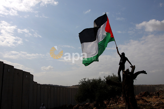 Palestinian youth carries the national flag during a demonstration against Israel's controversial separation barrier in the West Bank village of Nilin, near Ramallah, on Dec 4, 2009. Israel says the projected 723 kilometres (454 miles) of steel and concrete walls, fences and barbed wire are needed for security. Palestinians view it as a land grab that undermines their promised state. Photo by Issam Rimawi