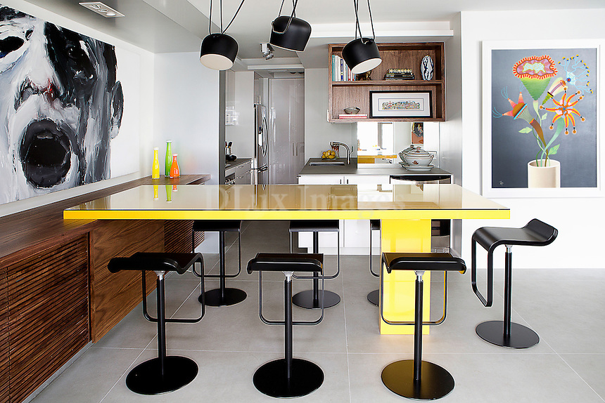 Modern yellow dining table