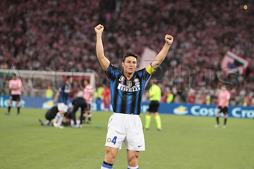 29.05.2011. Final Coppa Italia (Tim Cup) Stadio Olimpico, Rome, Italy.Zanetti of Inter Milan  celebrates Eto'o's first goal, during the Final Tim Cup match Inter Milan versus Palermo at the Olipic Stadium on Italy.