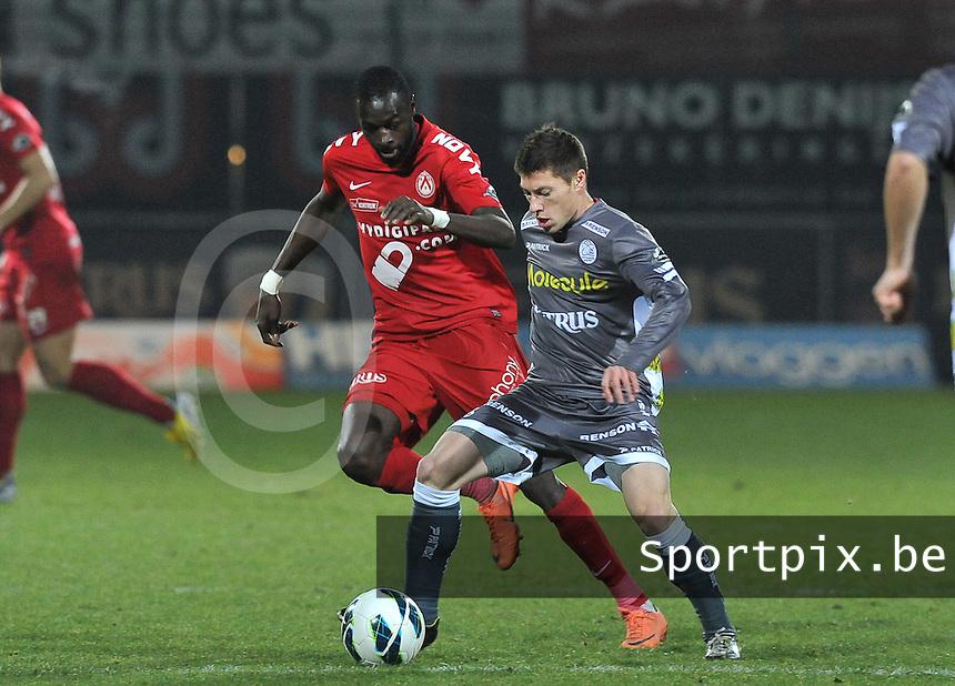 KV Kortrijk - SV Zulte Waregem  : duel tussen Jonathan Delaplace en Ismaila N'Diaye.foto VDB / BART VANDENBROUCKE