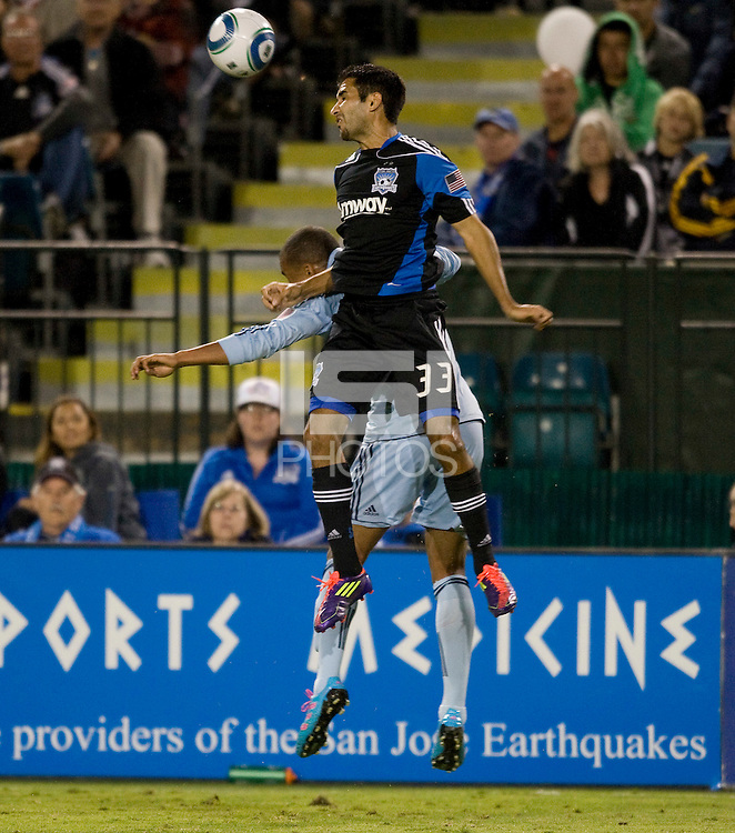 Steven Beitashour of Earthquakes battles for the ball against Kansas City at Buck Shaw Stadium in Santa Clara. California on October 1st, 2011.  San Jose Earthquakes tied Sporting Kansas City, 1-1.