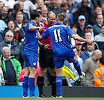 Marc Albrighton of Leicester City complains to the assistant referee during the English Premier League match at the Etihad Stadium, Manchester. Picture date: May 13th 2017. Pic credit should read: Simon Bellis/Sportimage