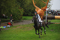 Blair Atholl, Scotland, UK. 12th September, 2015. Longines  FEI European Eventing Championships 2015, Blair Castle. Bettina Hoy (GER) riding Designer 10 during the Cross country phase © Julie Priestley
