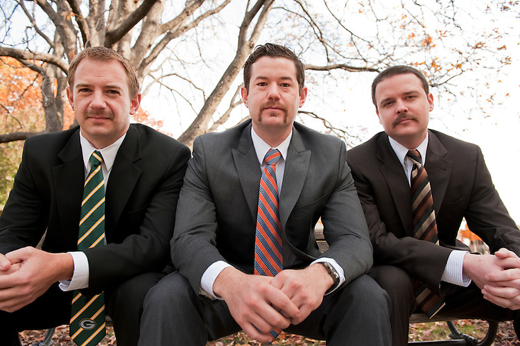 UNITED STATES - NOVEMBER 14:  From left, Tom Petri, Josh McLeod, and Scott Parkinson, pose for a picture near Russell Building.  The Sen. Ron Johnson, R-Wis., staffers will sport mustaches  in November in support of the Movember Foundation, which raises awareness and funds for cancer, specifically cancers affecting men. (Photo By Tom Williams/CQ Roll Call)