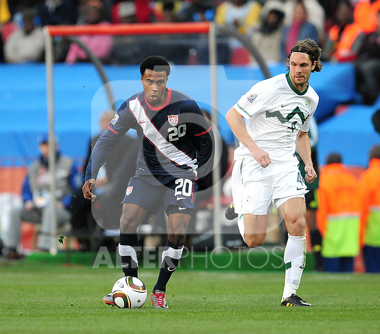 20 Robbie FINDLEY during the 2010 World Cup Soccer match between the USA and Slovenia played at Ellispark Stadium in Johannesburg South Africa on 18 June 2010.