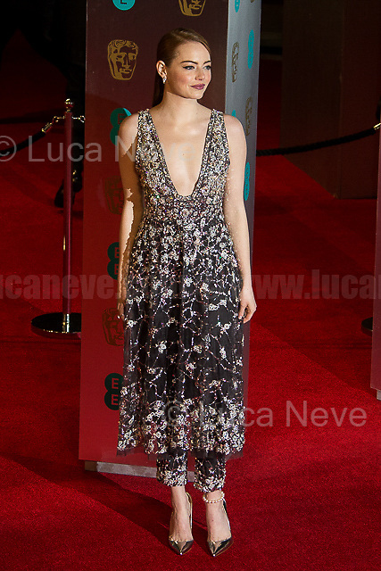 Emma Stone.<br /> <br /> London, 12/02/2017. Red Carpet of the 2017 EE BAFTA (British Academy of Film and Television Arts) Awards Ceremony, held at the Royal Albert Hall in London.<br /> <br /> For more information please click here: http://www.bafta.org/
