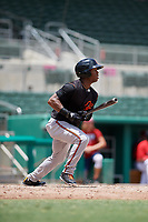 GCL Orioles center fielder Markel Jones (30) follows through on a swing during a game against the GCL Red Sox on August 9, 2018 at JetBlue Park in Fort Myers, Florida.  GCL Red Sox defeated GCL Orioles 10-4.  (Mike Janes/Four Seam Images)