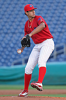 April 12, 2010 Pitcher Heitor Correa of the Clearwater Threshers, Florida State League Class-A affiliate of the Philadelphia Phillies, during a game at Bright House Networks Field in Clearwater Fl. Photo by: Mark LoMoglio/Four Seam Images