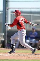Cincinnati Reds first baseman Paul Kronenfeld (27) during an Instructional League game against the Texas Rangers on October 3, 2014 at Surprise Stadium Training Complex in Surprise, Arizona.  (Mike Janes/Four Seam Images)