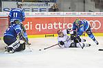 Blair Jones (Nr.37, Koelner Haie), Joachim Ramoser (Nr.47, ERC Ingolstadt), Benedikt Schopper (Nr.11, ERC Ingolstadt), Torwart Jochen Reimer (Nr.32, ERC Ingolstadt) beim Spiel in der DEL, ERC Ingolstadt (blau) - Koelner Haie (weiss).<br /> <br /> Foto &copy; PIX-Sportfotos *** Foto ist honorarpflichtig! *** Auf Anfrage in hoeherer Qualitaet/Aufloesung. Belegexemplar erbeten. Veroeffentlichung ausschliesslich fuer journalistisch-publizistische Zwecke. For editorial use only.