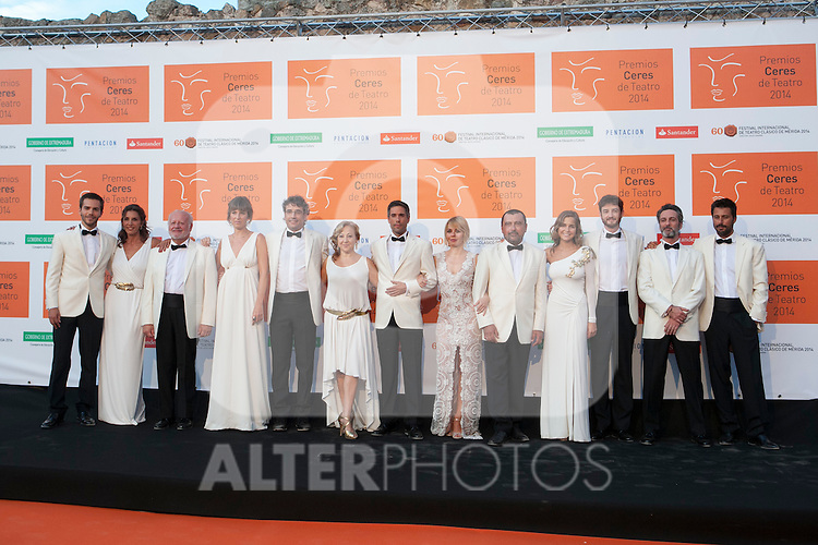 Marc Clotet, Gorka Otxoa, Natalia Sanchez, Maria Adanez, Fernando Ramos, Unax Ugalde, Pastora Vega, Carmen Machi, Juan Echanove, JOse Orantos, Hugo Silva and Paco Tous pose for the photographers during 2014 Theater Ceres Awards photocall at Merida, Spain. August 28, 2014. (ALTERPHOTOS/Victor Blanco)