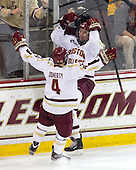 Teddy Doherty (BC - 4), Bill Arnold (BC - 24) - The Boston College Eagles defeated the visiting Boston University Terriers 5-2 on Saturday, December 1, 2012, at Kelley Rink in Conte Forum in Chestnut Hill, Massachusetts.
