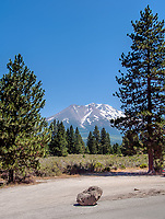 A beautiful summer view of Mount Shasta in the town of Weed, California.