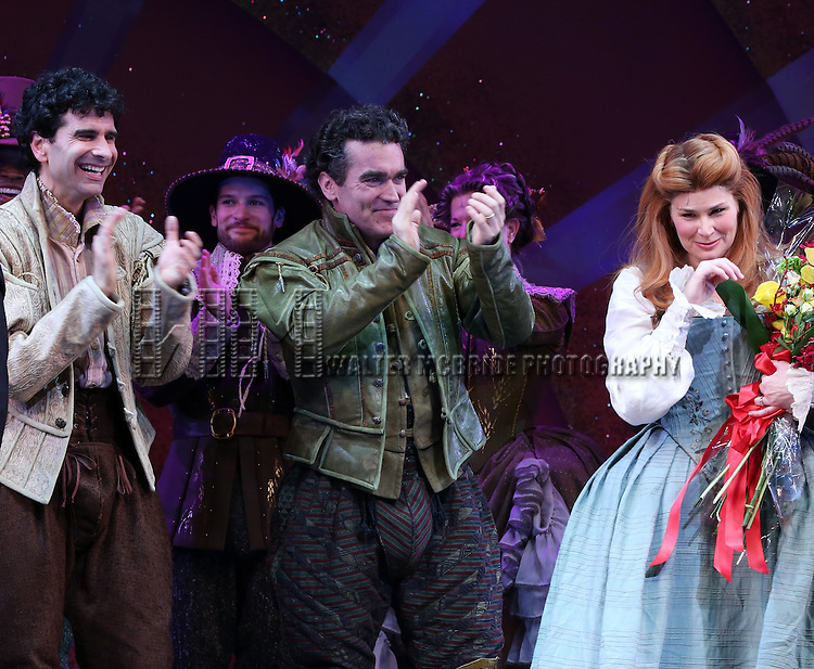 John Cariani, Brian d'Arcy James and Heidi Blickenstaff during the Broadway Opening Night Curtain Call for 'Something Rotten' at the St. James Theatre on April 22, 2015 in New York City.