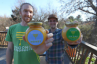 NWA Democrat-Gazette/J.T. WAMPLER Founders of Patagonia Bee Products Jacob Perry, (FROM LEFT) Ross Ferguson in Fayetteville Wednesday March 14, 2018.