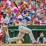 15 June 2016: Chicago Cubs first baseman Anthony Rizzo in action against the Washington Nationals at Nationals Park in Washington, DC. The Cubs fell to the Nationals 5-4 in 12 innings in the rubber match of their 3-game series. Mandatory Credit: Ed Wolfstein Photo *** RAW (NEF) Image File Available ***