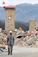 Amatrice 02/04/2017. Il Principe Carlo del Galles in visita nella zona terremotata di Amatrice<br /> Amatrice April 2nd 2017. Prince Charles of Wales visits Amatrice, hit by the earthquake of 24 August. <br /> Foto Samantha Zucchi Insidefoto