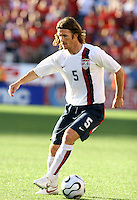 John O'Brien looks to pass the ball. USA (0) vs Morocco (1) at the Coliseum, Nashville, TN  May 23 2006