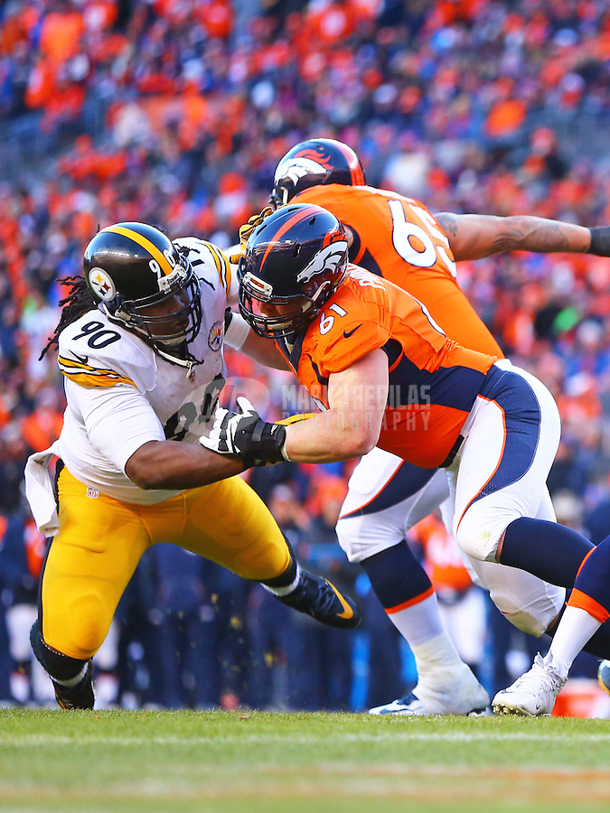Jan 17, 2016; Denver, CO, USA; Denver Broncos center Matt Paradis (61) against Pittsburgh Steelers defensive tackle Steve McLendon (90) during the AFC Divisional round playoff game at Sports Authority Field at Mile High. Mandatory Credit: Mark J. Rebilas-USA TODAY Sports