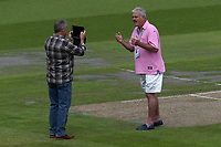 Don Topley (R) makes a video ahead of Lancashire CCC vs Essex CCC, Specsavers County Championship Division 1 Cricket at Emirates Old Trafford on 9th June 2018