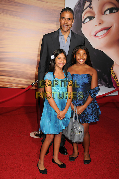"RICK FOX & FAMILY.""Tangled"" Los Angeles Premiere held at the El Capitan Theatre, Hollywood, California, USA..November 14th, 2010.full length grey gray suit blue dress daughters kids children.CAP/ADM/BP.©Byron Purvis/AdMedia/Capital Pictures."