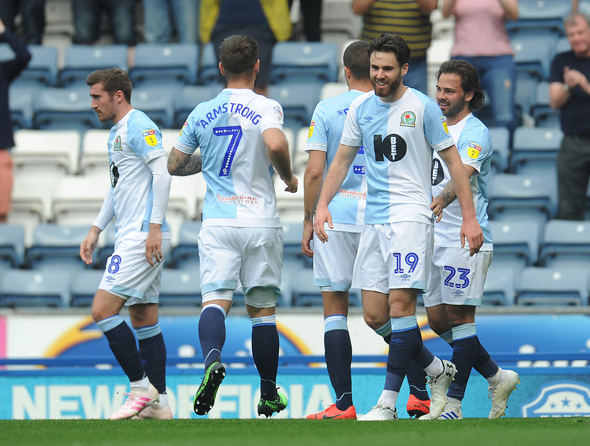 Blackburn Rovers' Ben Brereton celebrates scoring the opening goal <br /> <br /> Photographer Kevin Barnes/CameraSport<br /> <br /> The EFL Sky Bet Championship - Blackburn Rovers v Bolton Wanderers - Monday 22nd April 2019 - Ewood Park - Blackburn<br /> <br /> World Copyright © 2019 CameraSport. All rights reserved. 43 Linden Ave. Countesthorpe. Leicester. England. LE8 5PG - Tel: +44 (0) 116 277 4147 - admin@camerasport.com - www.camerasport.com