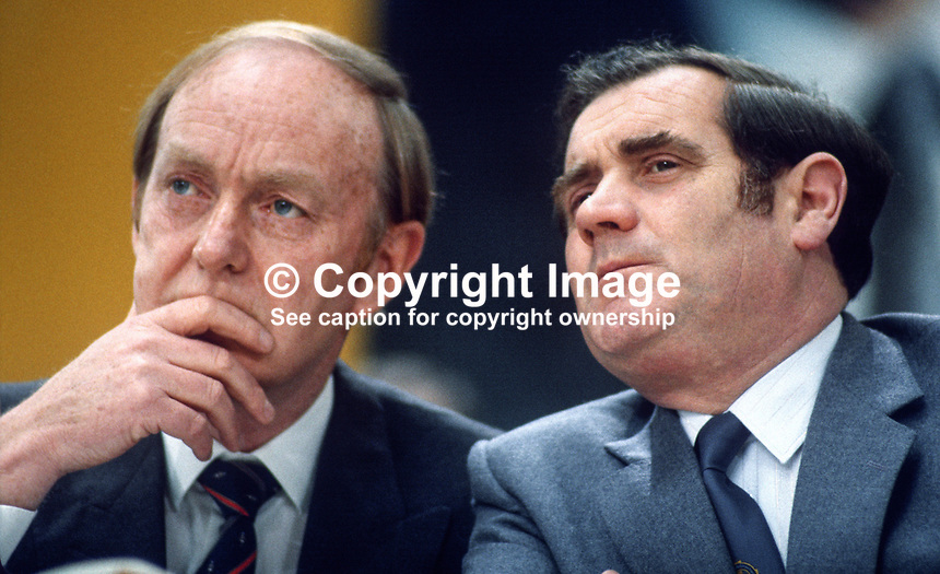 Michael O'Kennedy, TD, left, and Gene Fitzgerald, TD, Fianna Fail, opposition party, Rep of Ireland, photographed at April 1984 Ard Fheis i.e. party conference, 19840048MOK+GF.<br />