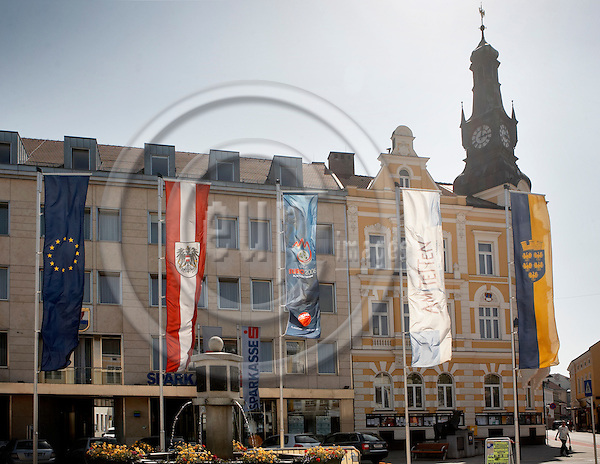 """AMSTETTEN - AUSTRIA 27. MAY 2008 -- Flags (Austria, EU, EURO2008, Fifa and Nieder?sterreich) in front of the Rathaus (townhall) -- PHOTO: CHRISTIAN T. JOERGENSEN / EUP & IMAGES..This image is delivered according to terms set out in """"Terms - Prices & Terms"""". (Please see www.eup-images.com for more details)"""