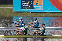 Sarasota. Florida USA.  IRL LM2-. Bow. Mark O'DONOVAN and Shane O'DRISCOLL. Winning the A Final  at the . 2017 World Rowing Championships, Nathan Benderson Park<br />