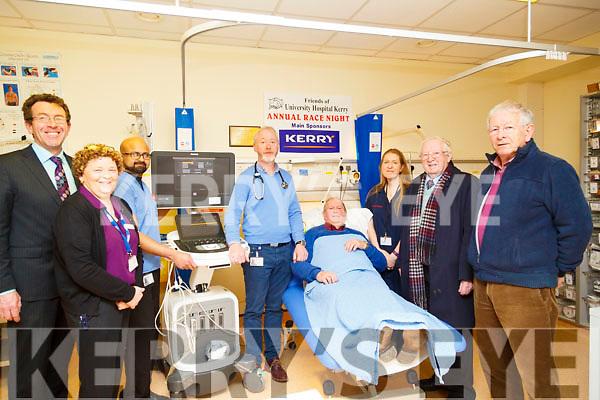 : <br /> <br /> <br /> <br />  At the presentation of the new Cardaic machine to UHK on Wednesday L-r: Declan Dowling (Manager Kingdom Greyhound Stadium) Kay Karim,Binu Nair (senior cardiac Physiologist,Mr Loiuis Keary ( Senior Consulton Heart Surgeon),Teddy Cronin (Friends UHK)  Natasha Daly (Chief Cardiac Physiolegist) Liam Brassil and PJ Hayes (friends UHK).