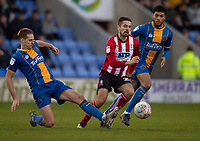 Lincoln City's Zack Elbouzedi gets between Shrewsbury Town's David Edwards, left, and Ethan Ebanks-Landell<br /> <br /> Photographer Andrew Vaughan/CameraSport<br /> <br /> The EFL Sky Bet League One - Shrewsbury Town v Lincoln City - Saturday 11th January 2020 - New Meadow - Shrewsbury<br /> <br /> World Copyright © 2020 CameraSport. All rights reserved. 43 Linden Ave. Countesthorpe. Leicester. England. LE8 5PG - Tel: +44 (0) 116 277 4147 - admin@camerasport.com - www.camerasport.com