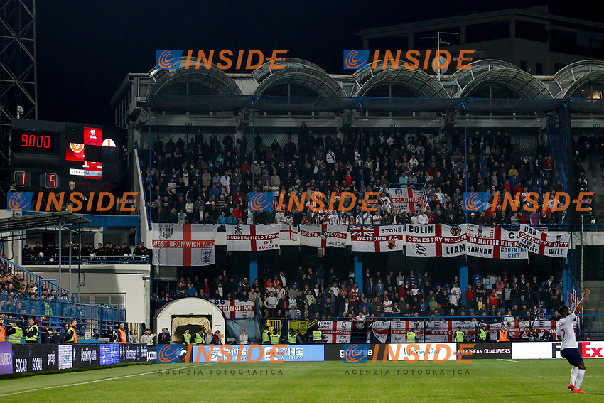 The final score is shown on the scoreboard  <br /> Podgorica 25-3-2019 <br /> Football Euro2020 Qualification Montenegro - England <br /> Foto Daniel Chesterton / PHC / Insidefoto <br /> ITALY ONLY