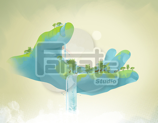 Illustrative image of nature in human hand representing environment conservation