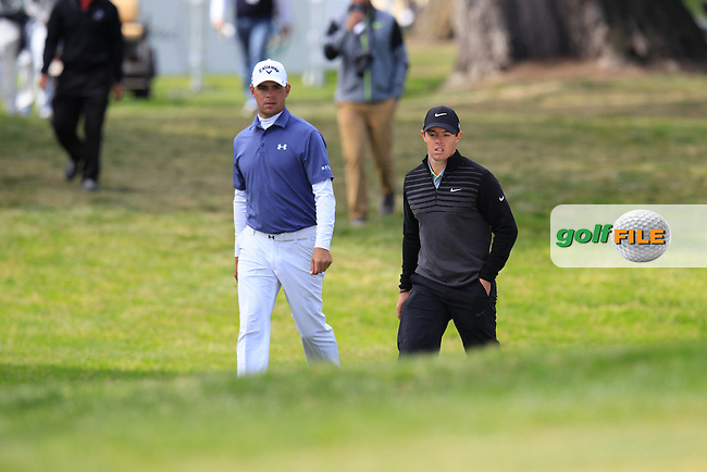 Gary WOODLAND (USA) and Rory McIlroy (NIR) during the final round of the WGC Cadillac Matchplay championship, TPC Harding Park, 99 Harding Road, San Francisco, CA 94132, United States. 03/05/2015<br /> Picture Fran Caffrey, www.golffile.ie