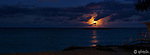 Stitched Panorama of moon rise over Flat Island