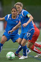 Action in the penalty area. Boston Breakers midfielder-forward Kristine Lilly (13) prepares to pounce on loose ball as Boston Breakers defender Alex Scott (22) looks on. The Boston Breakers tied the Washington Freedom, 1-1, at Harvard Stadium on May 17, 2009.