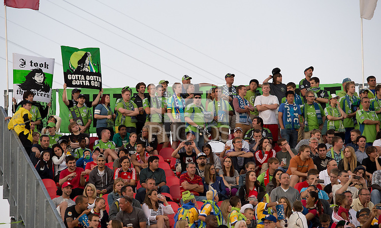 August 10, 2013: Seattle Sounders FC fans show their support during an MLS regular season game between the Seattle Sounders and Toronto FC at BMO Field in Toronto, Ontario Canada.<br /> Seattle Sounders FC won 2-1.