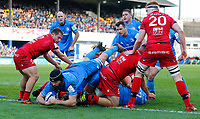 12th January 2020; RDS Arena, Dublin, Leinster, Ireland; Heineken Champions Cup Rugby, Leinster versus Lyon Olympique Universitaire; Scott Fardy (c) of Leinster dives over the pack to but has his try called back - Editorial Use