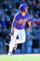 Clemson Tigers first baseman Chris Williams (27) swings at a pitch during a game against the South Carolina Gamecocks at Fluor Field on March 3, 2018 in Greenville, South Carolina. The Tigers defeated the Gamecocks 5-1. (Tony Farlow/Four Seam Images)