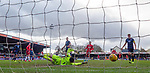 08.03.2020: Ross County v Rangers: Ryan Kent's shot takes a deflection as it beats keeper Ross Laidlaw