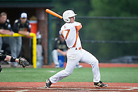 Will Albertson (17) of the Asheboro Copperheads follows through on his swing against the Gastonia Grizzlies at McCrary Park on June 1, 2015 in Asheboro, North Carolina.  The Copperheads defeated the Grizzlies 11-6. (Brian Westerholt/Four Seam Images)