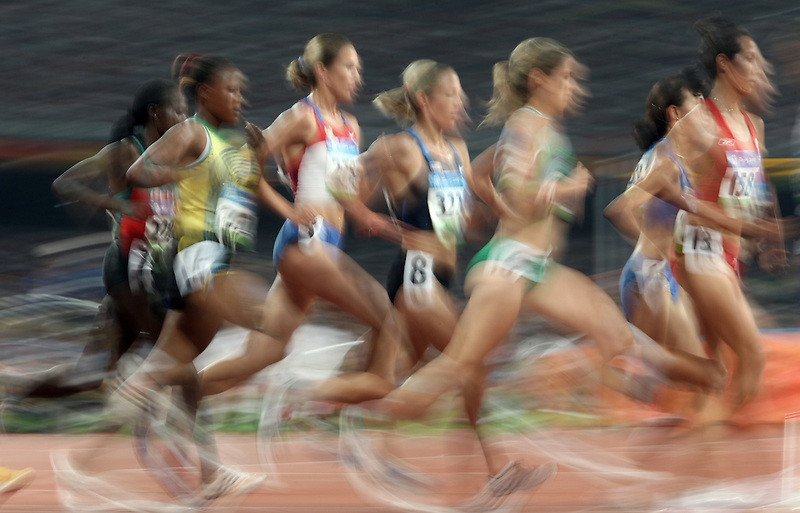 Women run in a 5000 meter semifinal event at the Beijing Olympics, Tuesday Aug. 19, 2008.Natalie Behring/Bloomberg News