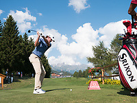Pedro Figueiredo (POR) in action on the 18th hole during second round at the Omega European Masters, Golf Club Crans-sur-Sierre, Crans-Montana, Valais, Switzerland. 30/08/19.<br /> Picture Stefano DiMaria / Golffile.ie<br /> <br /> All photo usage must carry mandatory copyright credit (© Golffile | Stefano DiMaria)