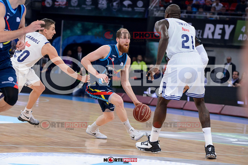 Real Madrid's Jaycee Carroll and Othello Hunter and Morabanc Andorra's Thomas Schreiner during Quarter Finals match of 2017 King's Cup at Fernando Buesa Arena in Vitoria, Spain. February 16, 2017. (ALTERPHOTOS/BorjaB.Hojas) /Nortephoto.com
